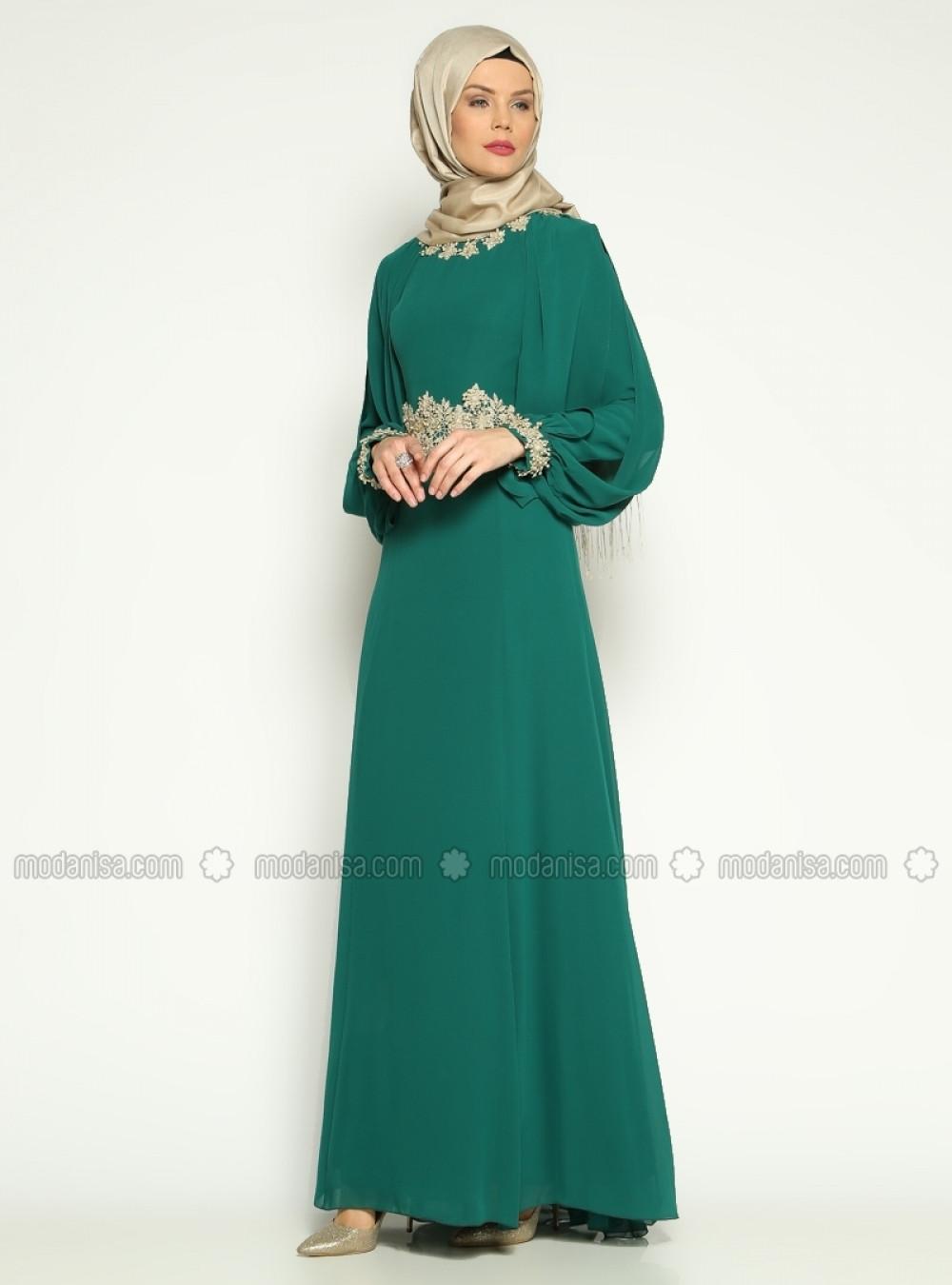 5ec0dfc26e717 Asbella Abiye Yeşil Güpür Detaylı Abiye Elbise | Ehl-i Tesettür