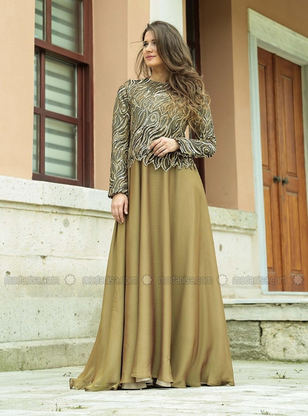 8a81a82063061 ÂRÂ Zeynep Bilyay Yağ Yeşili Ve Gold Soft Abiye Elbise | Ehl-i Tesettür