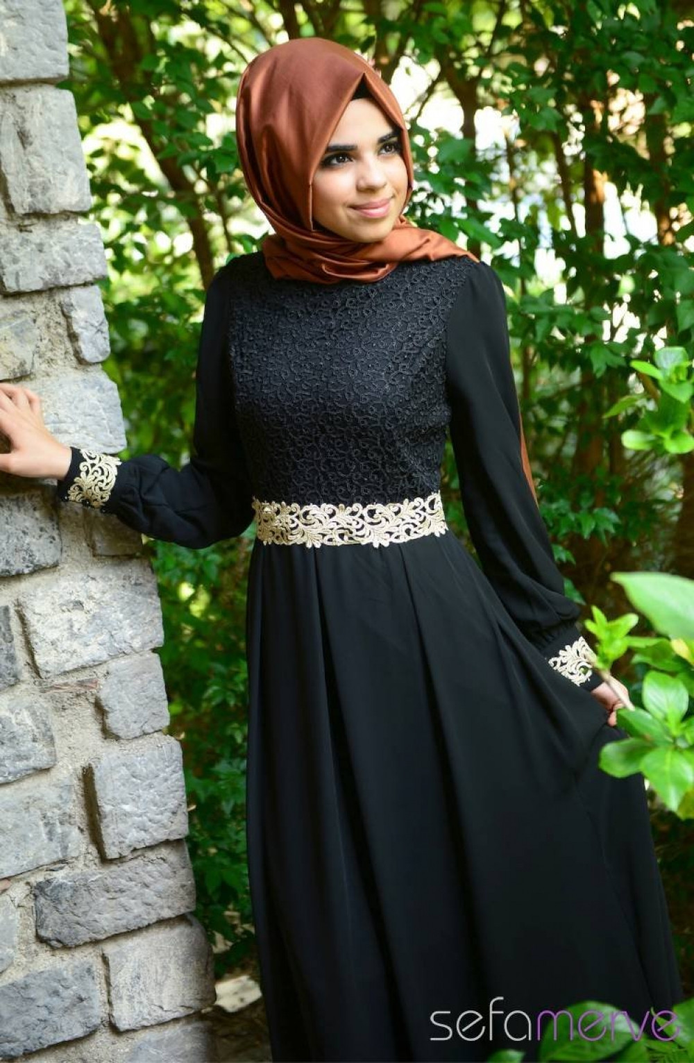 f509f2b20dd45 Sefamerve Siyah Elbise | Ehl-i Tesettür