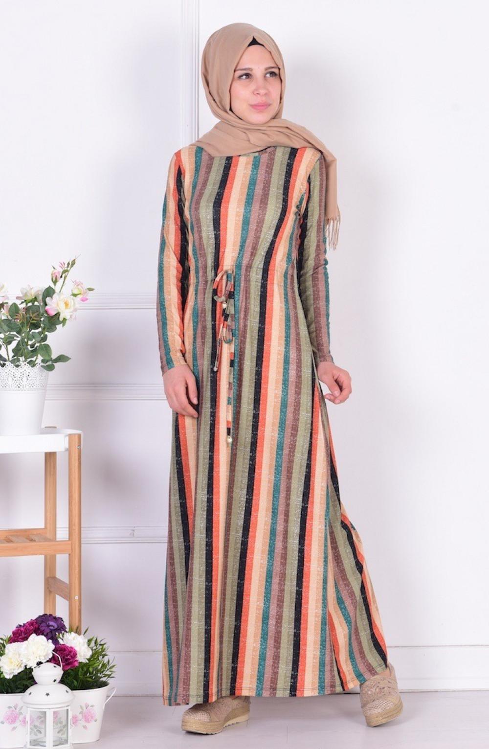 dd651fb6a2111 Sefamerve Belden Büzgülü Haki Yeşil Vizon Elbise | Ehl-i Tesettür