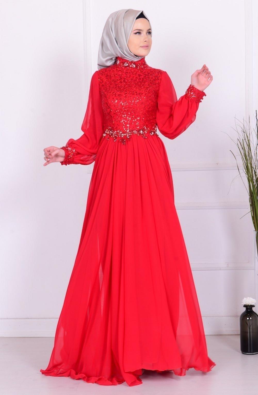 3ec2887fd621a Sefamerve Kırmızı Boncuk İşlemeli Şifon Elbise   Ehl-i Tesettür