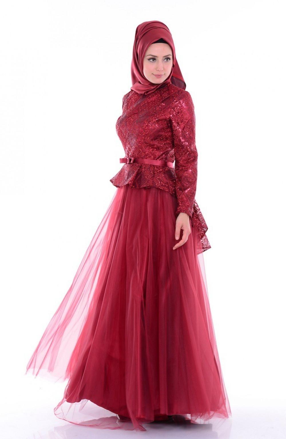 2e8a1ff5ec886 Sefamerve Tül Pullu Kırmızı Abiye Elbise   Ehl-i Tesettür