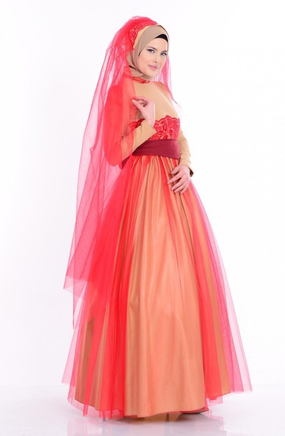 213efb54fe146 Sefamerve Dantel Detaylı Gold Kırmızı Abiye Elbise | Ehl-i Tesettür