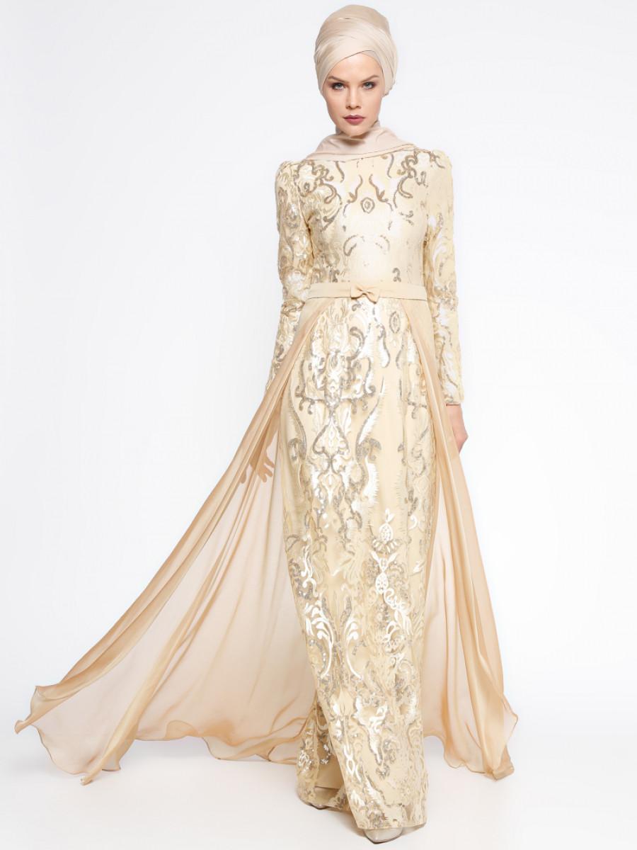 2402640594f20 Payetli Gold Abiye Elbise. Marka: Pınar Şems. Renk: Dore