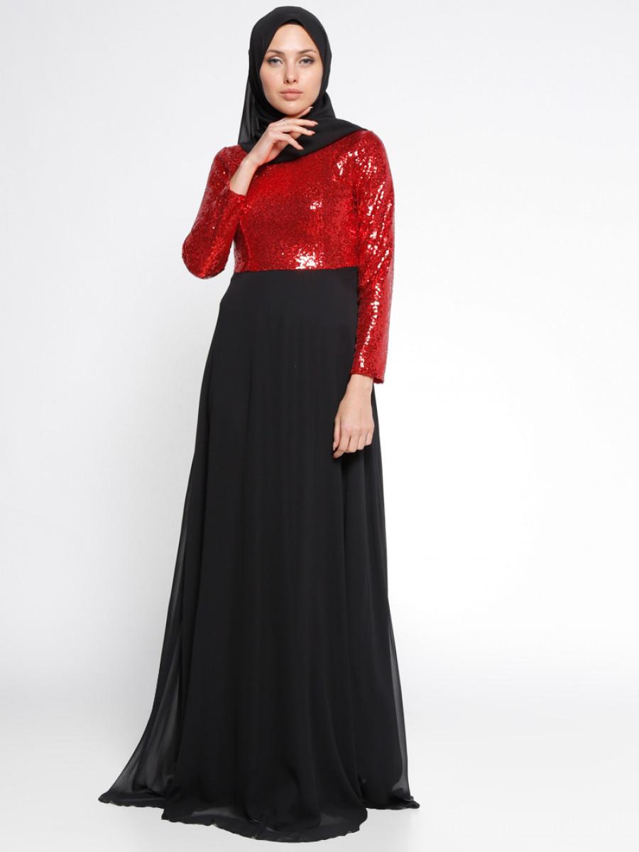 46d1ba158047a Mileny Payetli Kırmızı Siyah Abiye Elbise | Ehl-i Tesettür