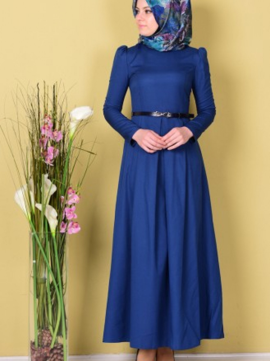 Sefamerve Kemerli İndigo Elbise