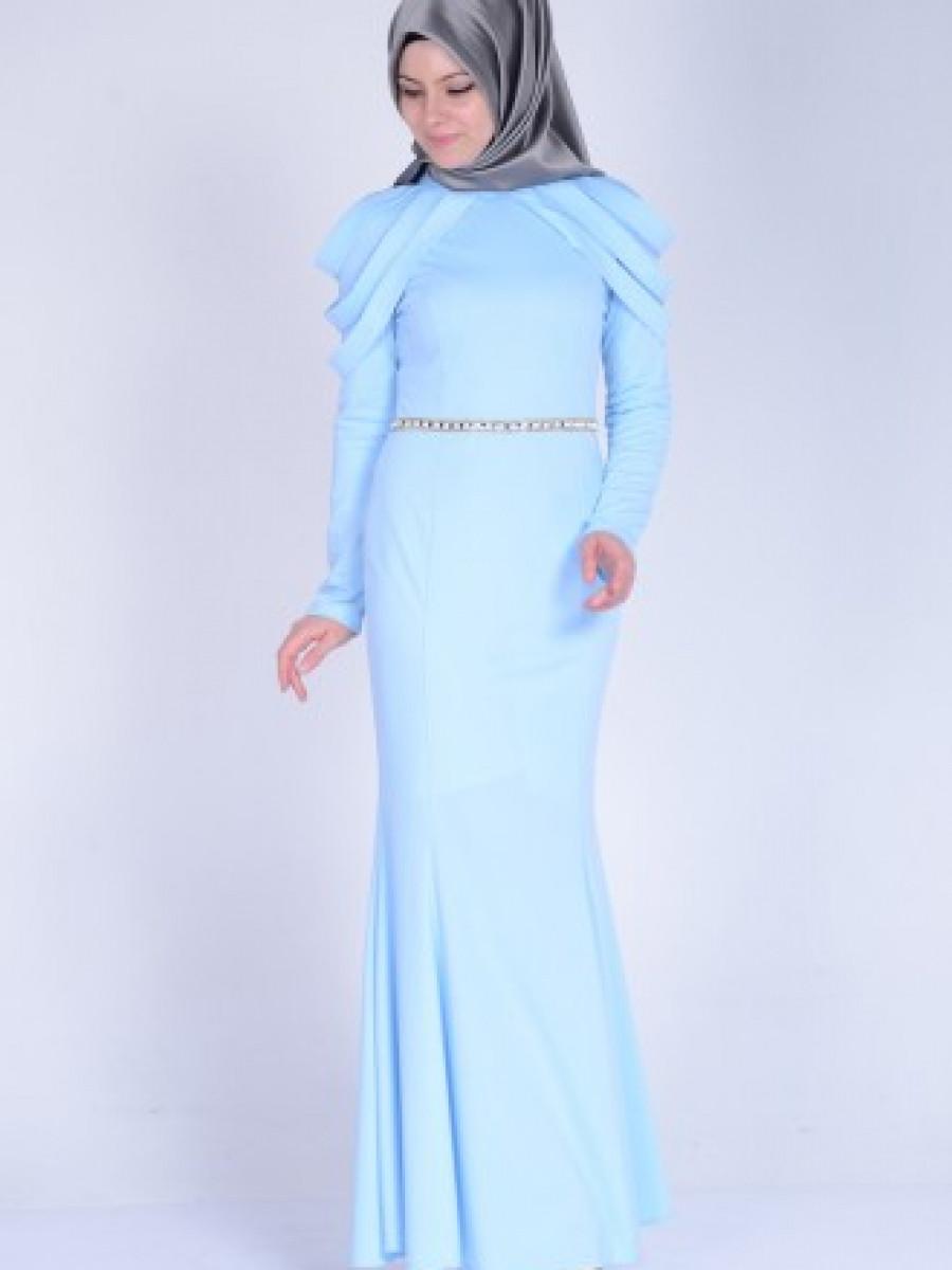 9a4a05a56b1e7 Sefamerve Omuz Detaylı Bebemavi Abiye Elbise | Ehl-i Tesettür
