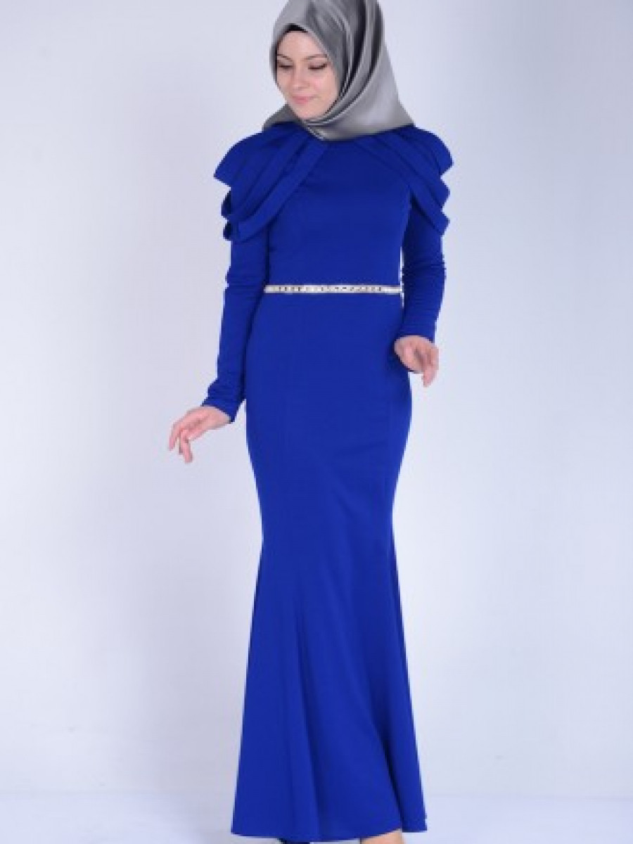 6f7aa0a48af09 Sefamerve Omuz Detaylı Saks Abiye Elbise | Ehl-i Tesettür