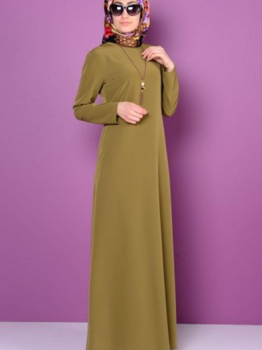Sefamerve Krep Kolyeli Yağ Yeşil Elbise