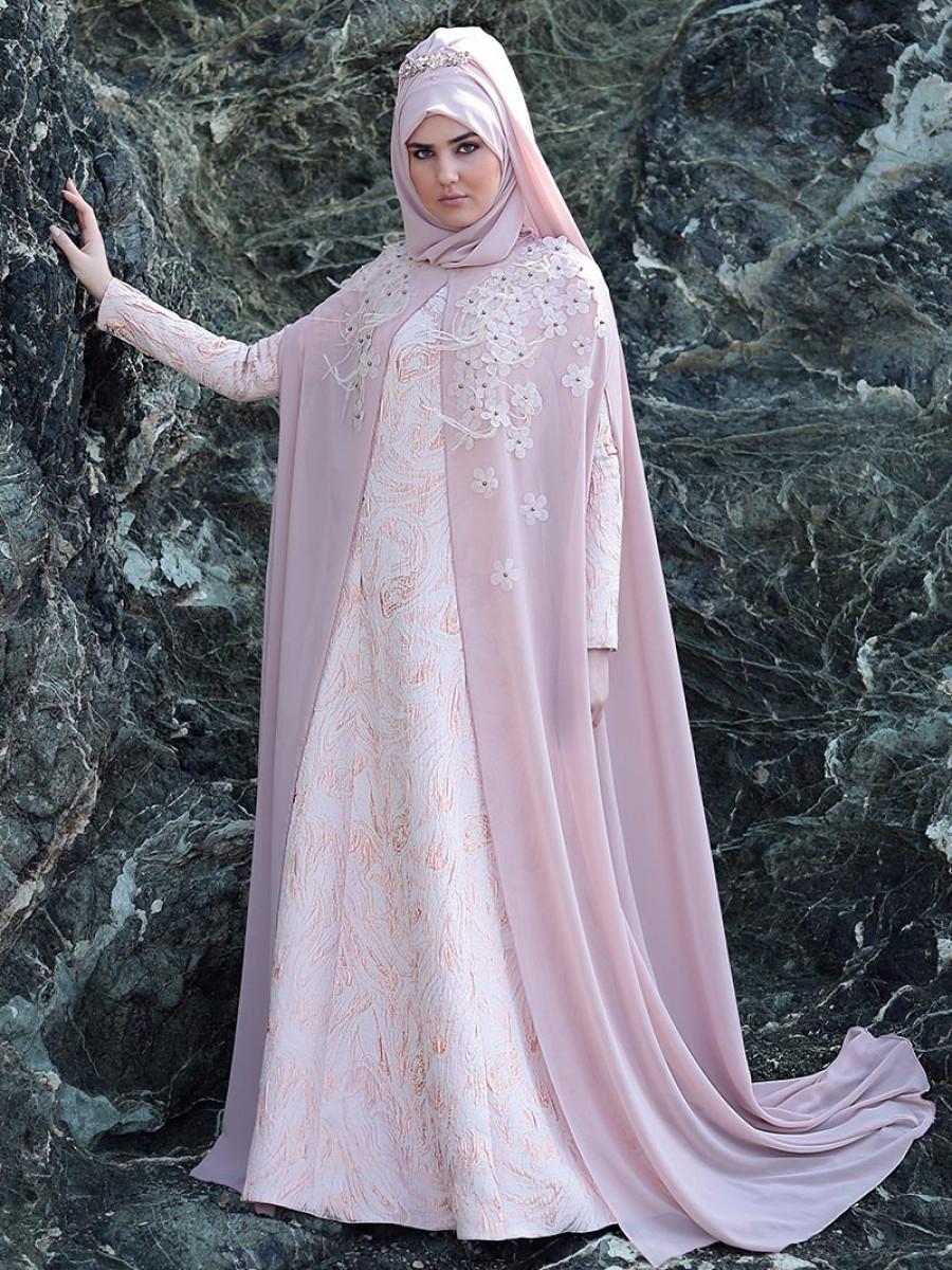 SomFashion Buse Pudra Abiye Elbise