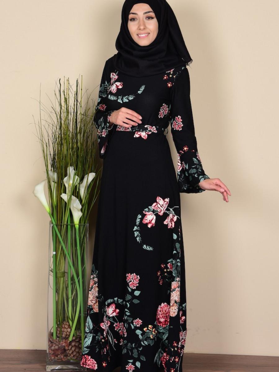Sefamerve Desenli Siyah Elbise
