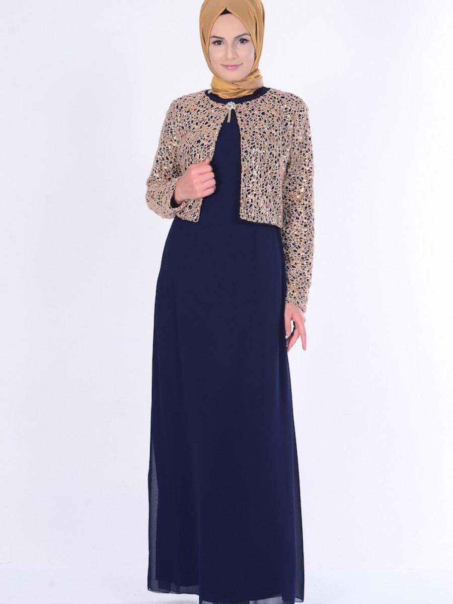 dcaf90d65e4c4 Sefamerve Lacivert Ceketli Abiye Elbise | Ehl-i Tesettür