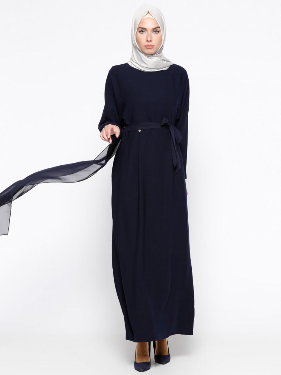 9019ab8ac22c3 Armine Şifon Parçalı Yarasa Kollu Lacivert Elbise | Ehl-i Tesettür
