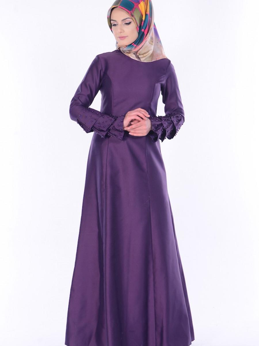 103c9e8359293 Sefamerve İnci Detaylı Mor Abiye Elbise | Ehl-i Tesettür