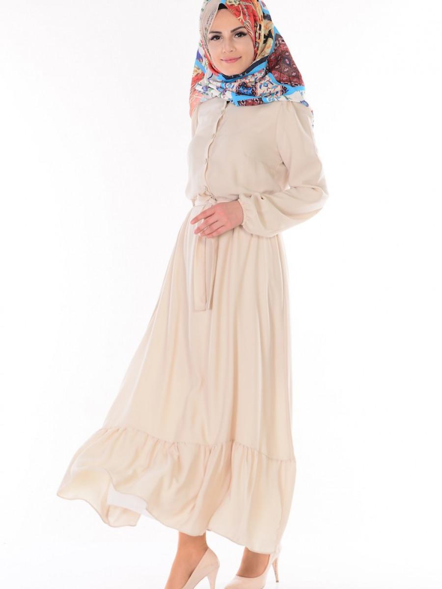 Sefamerve Düğmeli Kuşaklı Krem Elbise