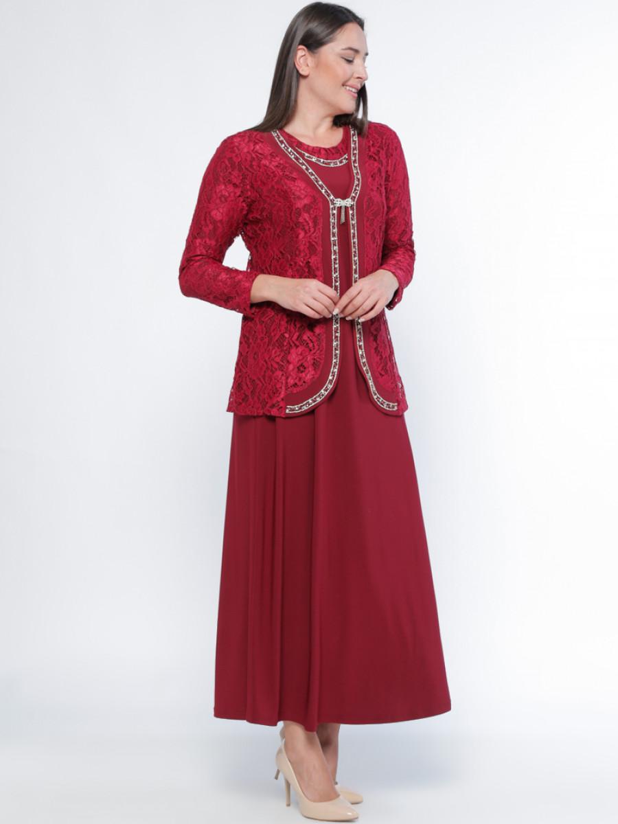 Metex Bordo Ceket&Elbise İkili Abiye Elbise Takım