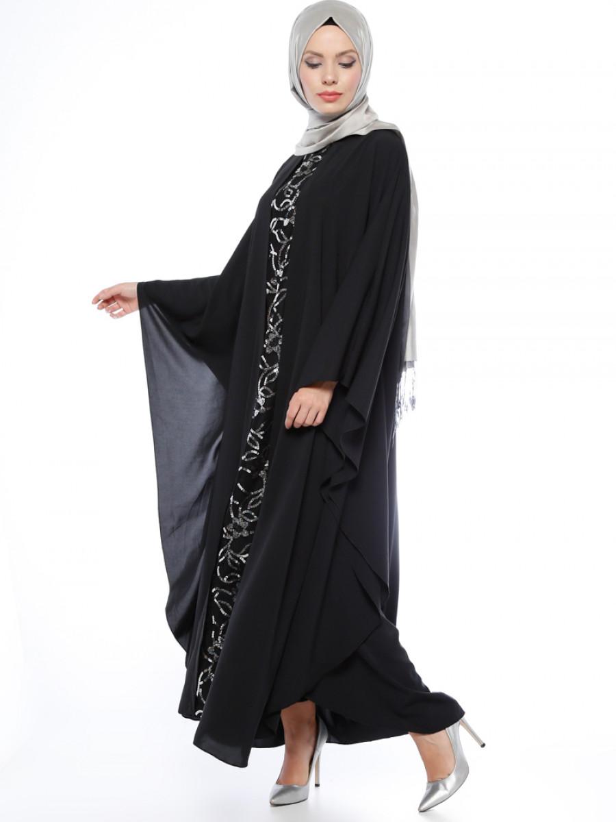 Filizzade Garnili Gümüş Siyah Ferace