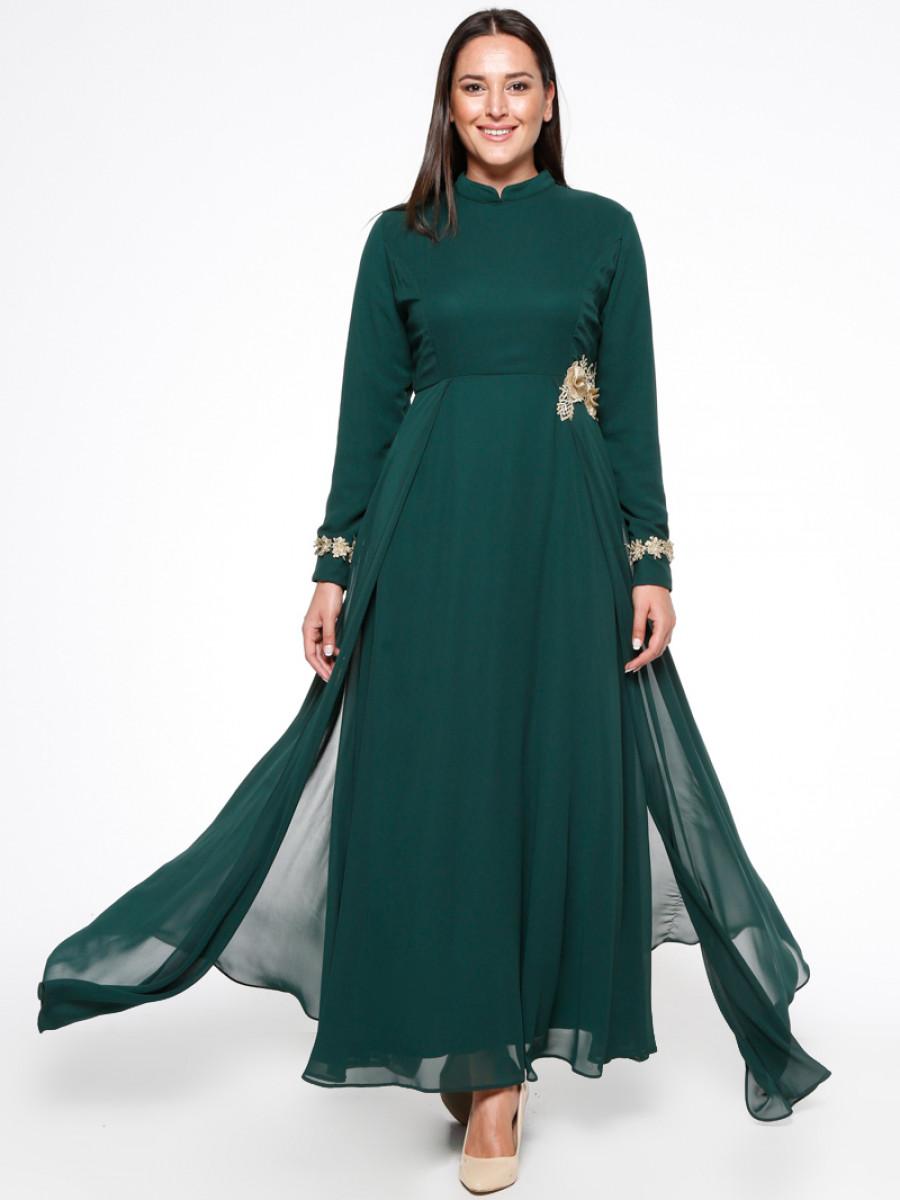 afc8bce46e178 BÜRÜN Güpür Detaylı Yeşil Abiye Elbise | Ehl-i Tesettür
