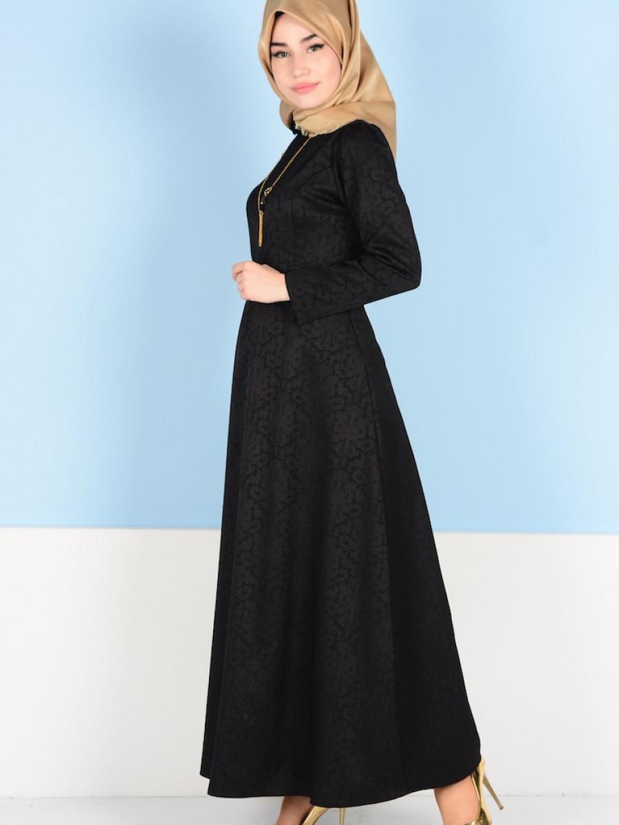 Sefamerve Kemerli Siyah Elbise