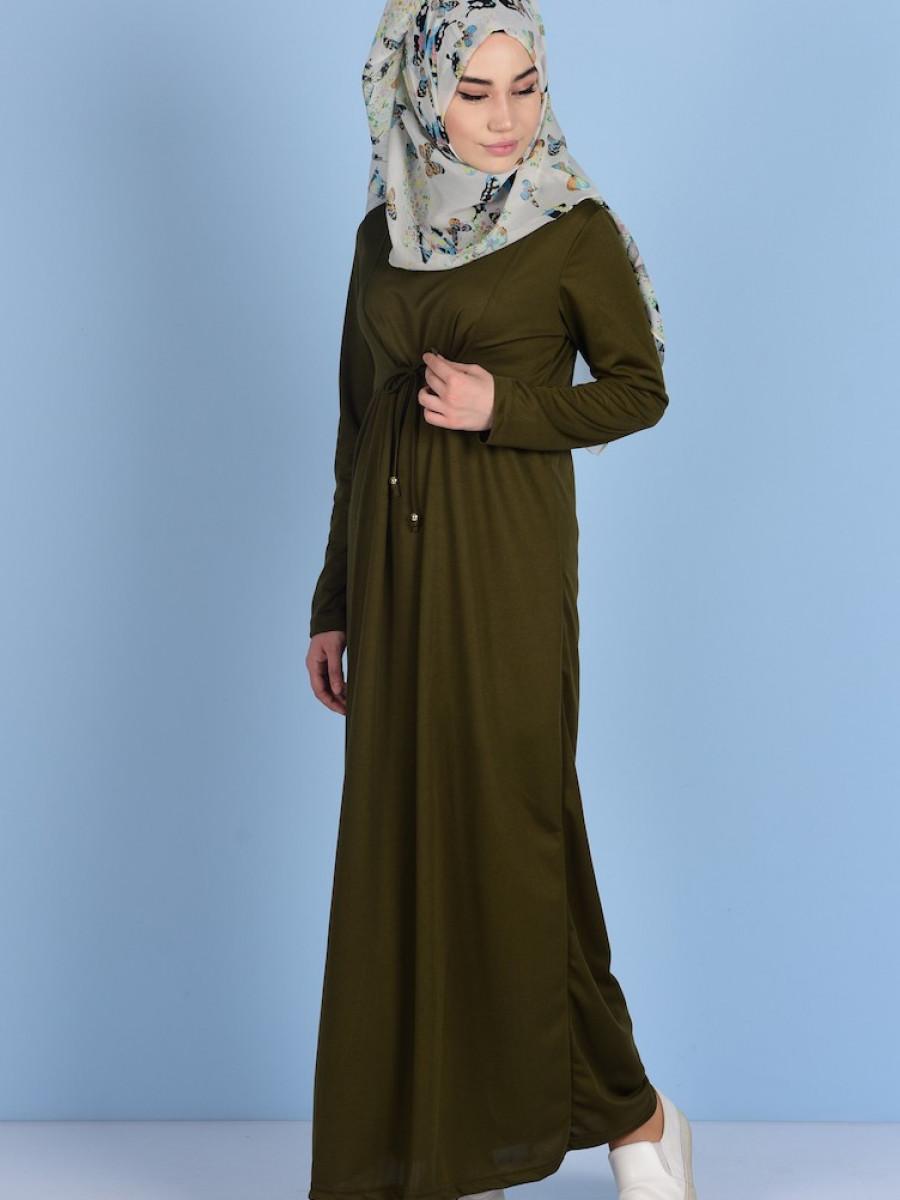 fae6c24e469a9 Sefamerve Belden Büzgülü Haki Yeşil Elbise | Ehl-i Tesettür