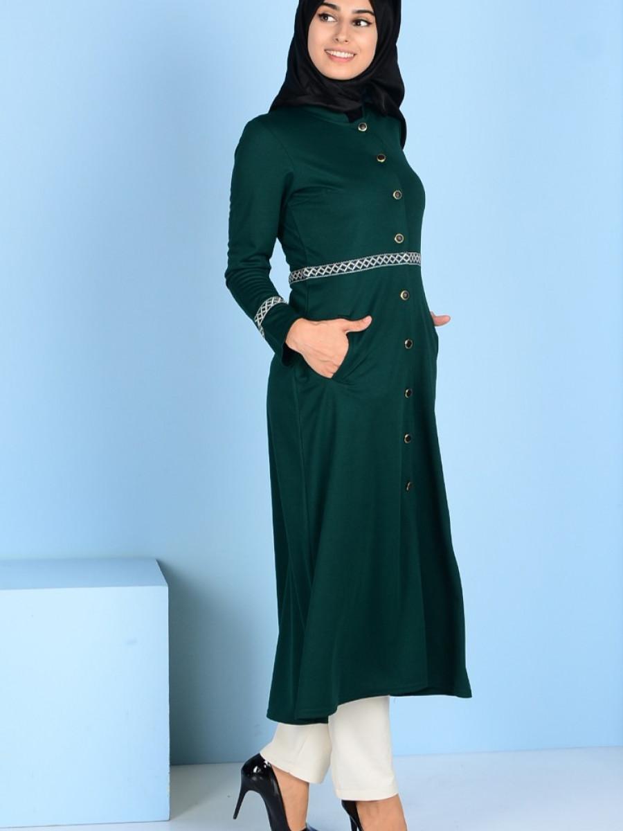 Sefamerve Düğmeli Yeşil Kap