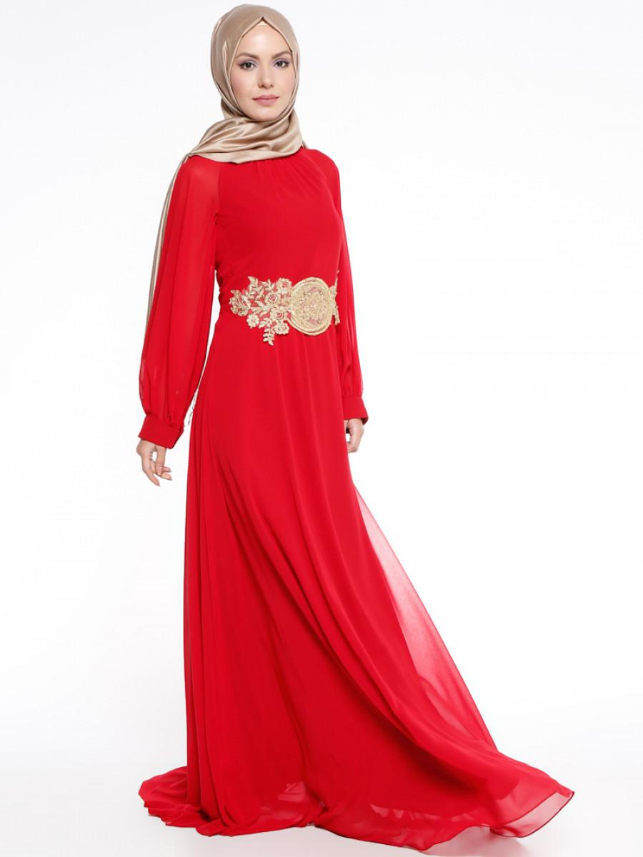4d9db9e2c5e41 Mileny Güpür Detaylı Kırmızı Abiye Elbise | Ehl-i Tesettür