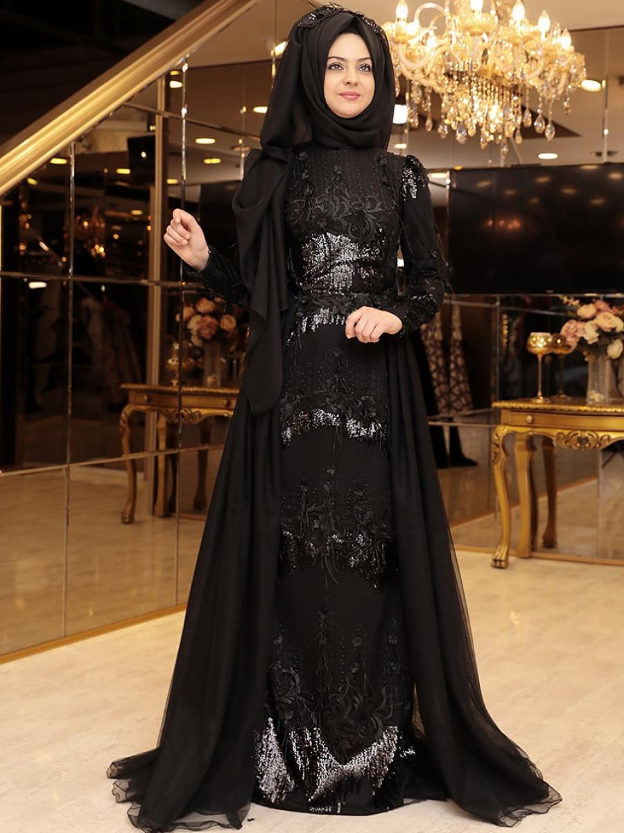 82655632ddb3c Pınar Şems Pırlanta Siyah Abiye Elbise | Ehl-i Tesettür