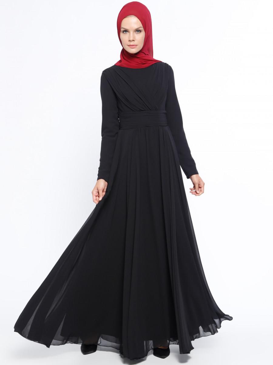 2c1ee78d0a16a Pierre Cardin Drape Detaylı Şifon Siyah Abiye Elbise | Ehl-i Tesettür