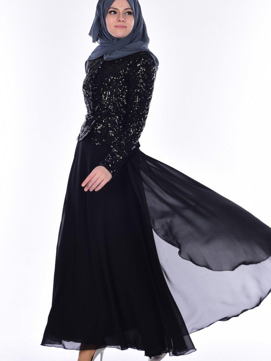 65e22730925f5 Sefamerve Payetli Siyah Abiye Elbise | Ehl-i Tesettür