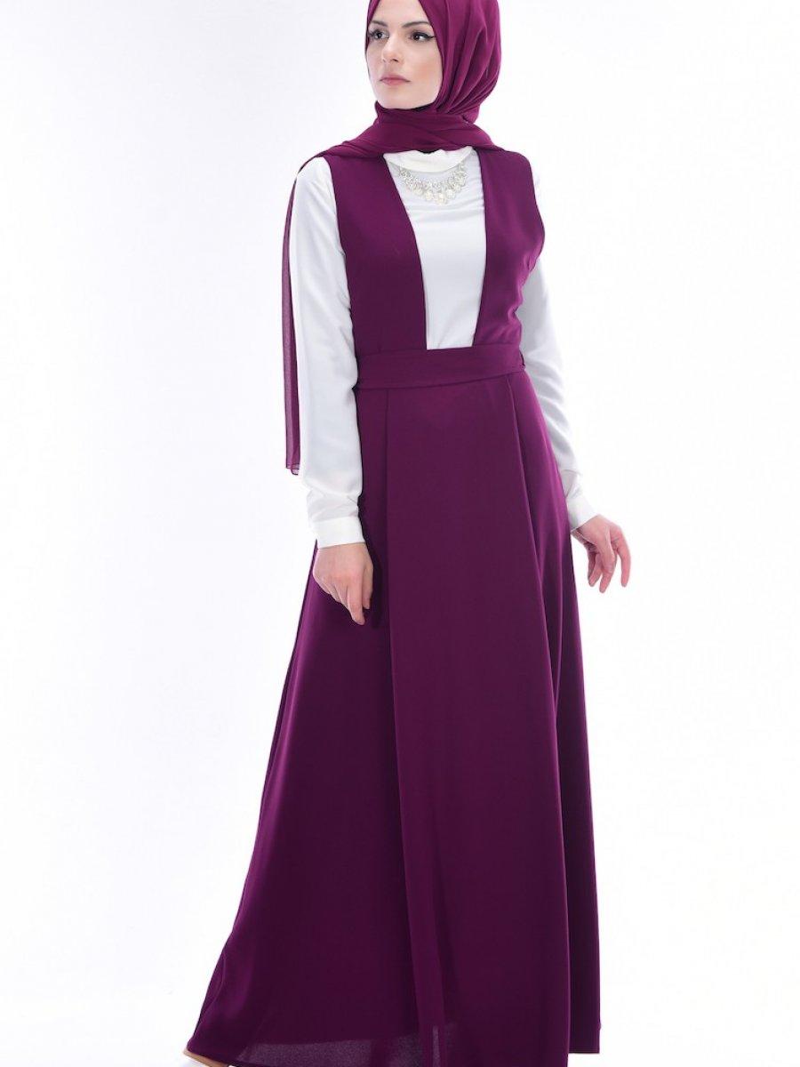 7857c3812b68f Sefamerve Gömlekli Jile Mor Elbise | Ehl-i Tesettür