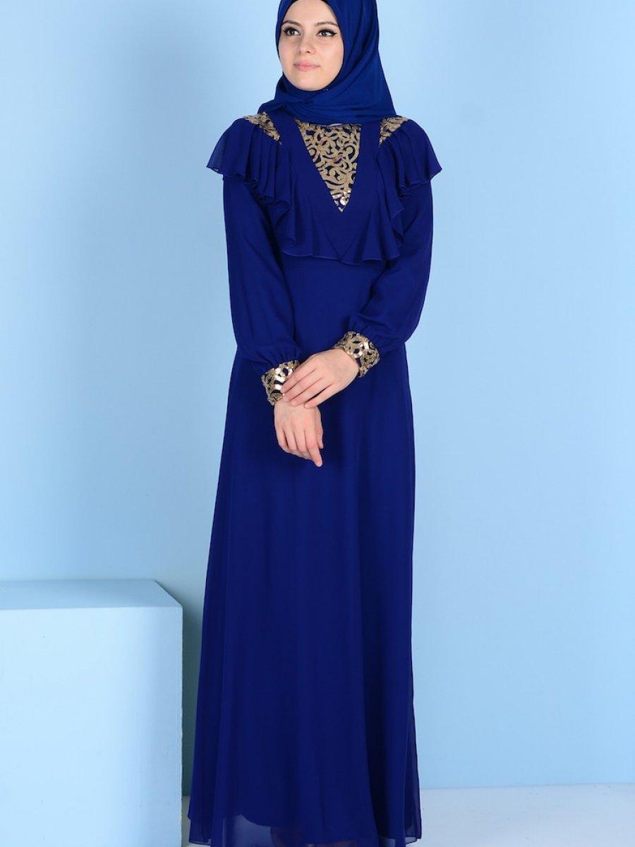 8d618c8167f02 Sefamerve Payet Detaylı Saks Abiye Elbise | Ehl-i Tesettür