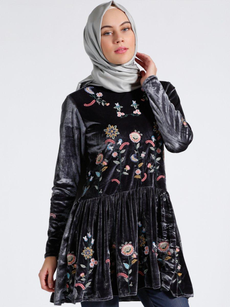 مانتو دربار دوزی شده خرید اینترنتی انواع مدل مانتو تونیک زنانه آبی - طوسی فروشگاه اینترنتی لباس فیزا