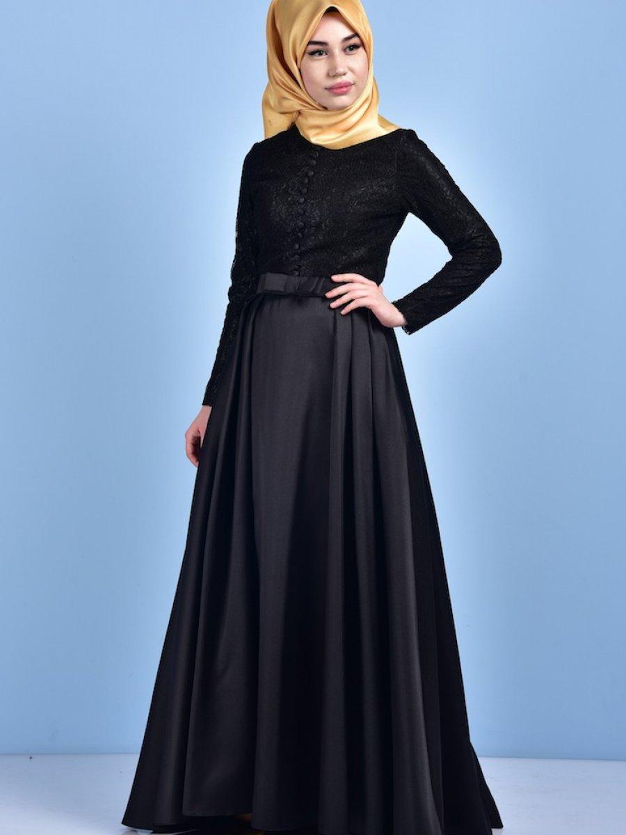 Sefamerve Kuşaklı Dantelli Siyah Abiye Elbise