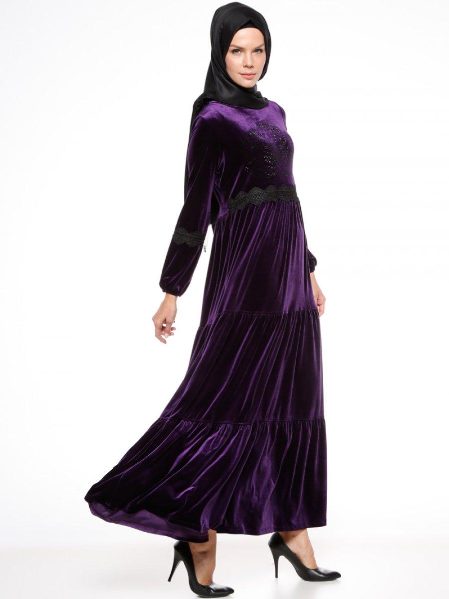 Ginezza Drop Baskılı Mor Elbise