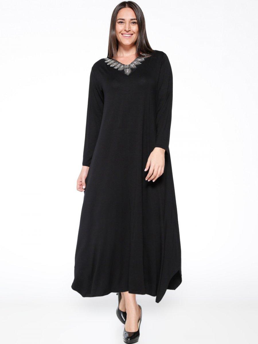 RMG Boncuk Detaylı Siyah Elbise