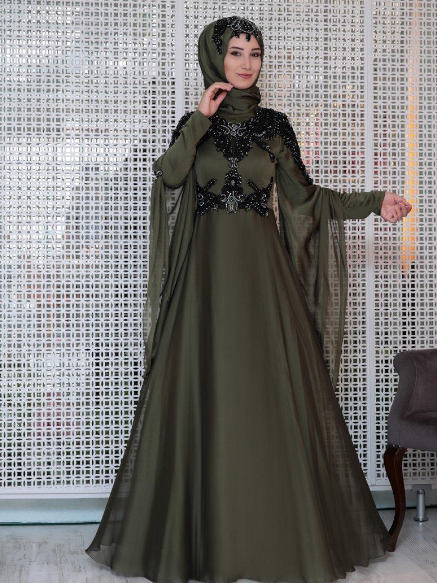 8a35f7e910247 Efkeyem Güpür Detaylı Yesil Abiye Elbise | Ehl-i Tesettür
