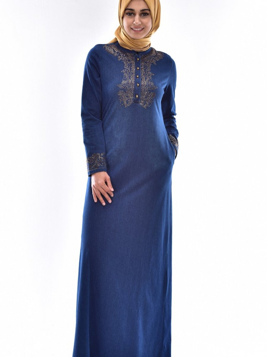 1387d87e72675 Taş Ve Düğme Detaylı Kot Lacivert Elbise. Marka: Sefamerve. Beden: 46