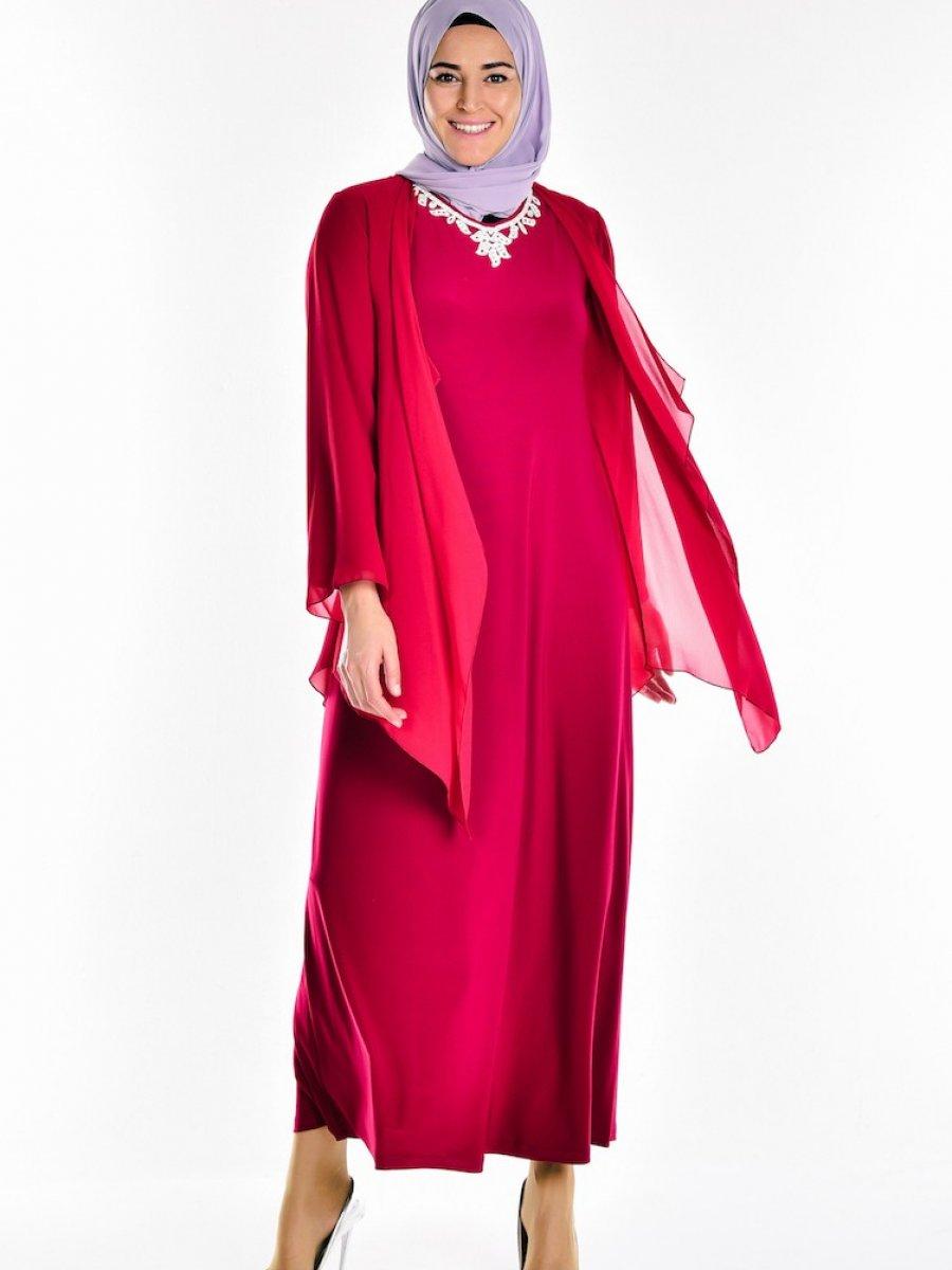 0f23d6a5657bd Sefamerve Taş Detaylı Şifon Bordo Elbise   Ehl-i Tesettür