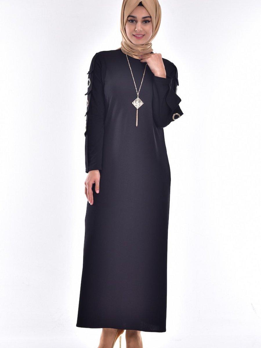 dce53543d2fa3 Sefamerve Taş Detaylı Siyah Elbise   Ehl-i Tesettür