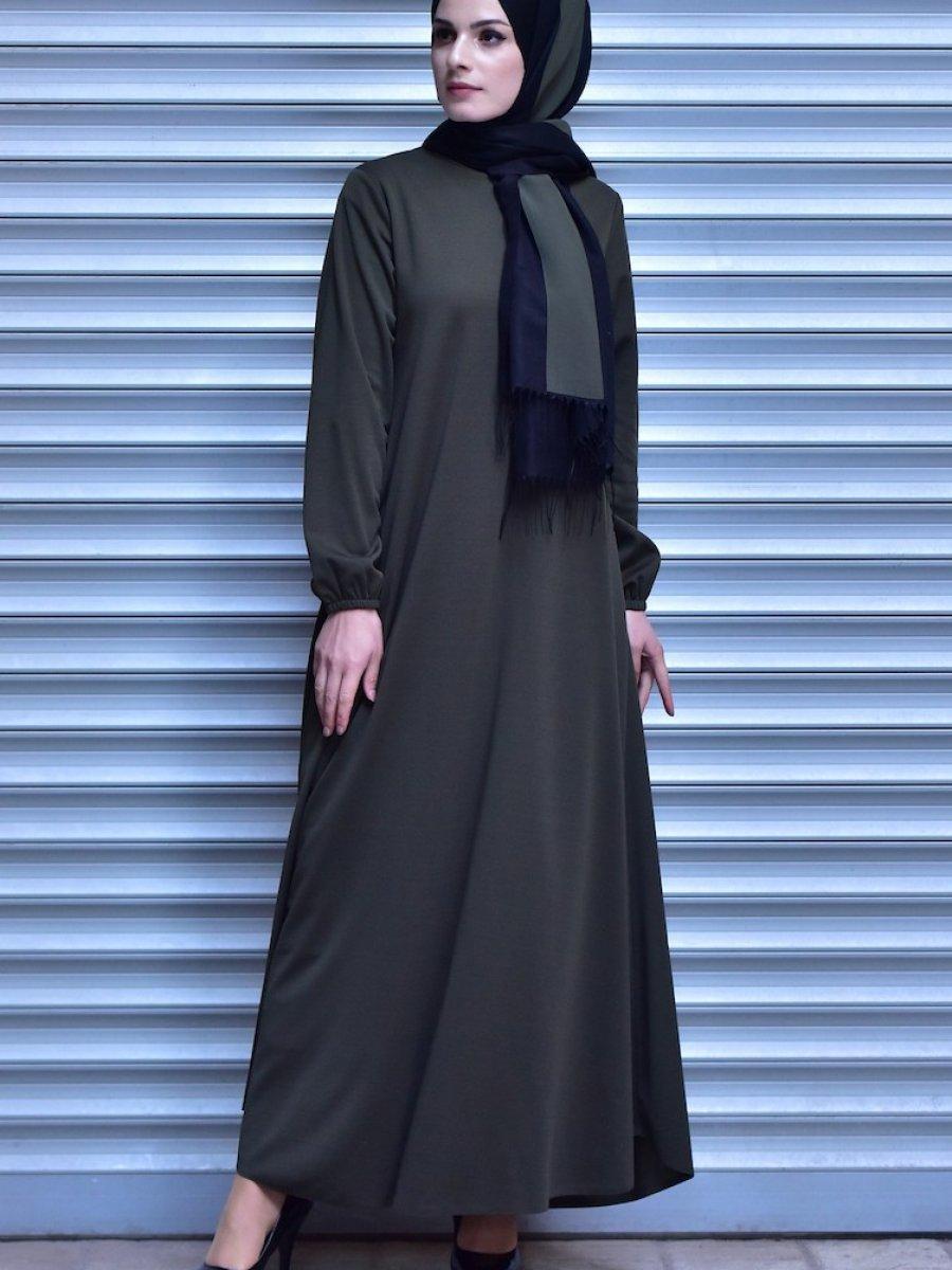 d1338654b68da Sefamerve Haki Kolu Lastikli Elbise | Ehl-i Tesettür