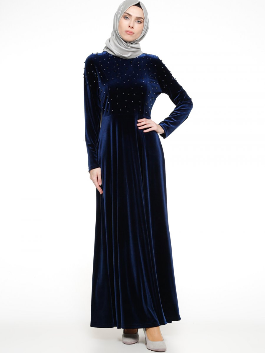 752549e619d67 Ginezza Lacivert İnci Detaylı Kadife Elbise | Ehl-i Tesettür