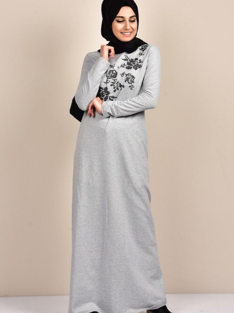 dc73b2bac79b8 Sefamerve Nakışlı Penye Gri Elbise | Ehl-i Tesettür