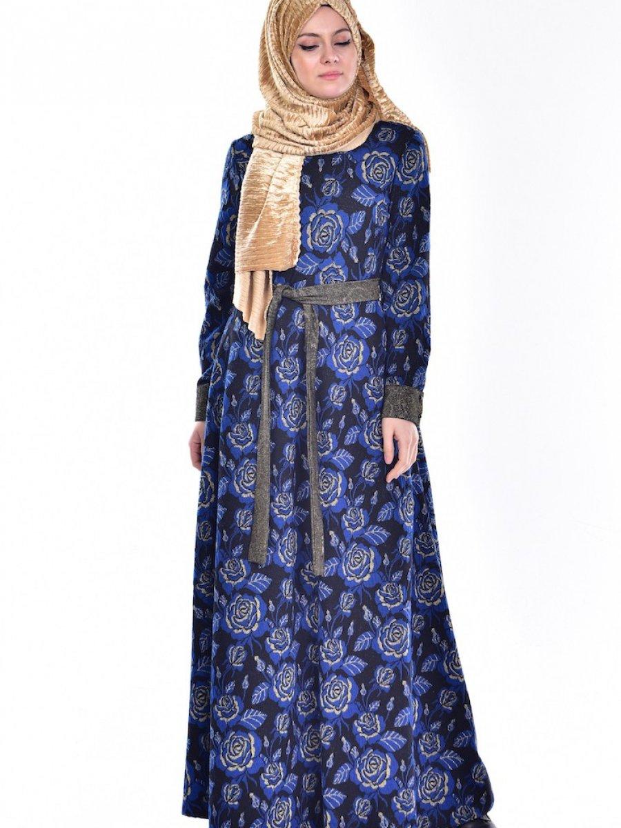 Sefamerve Kuşaklı Simli Saks Elbise