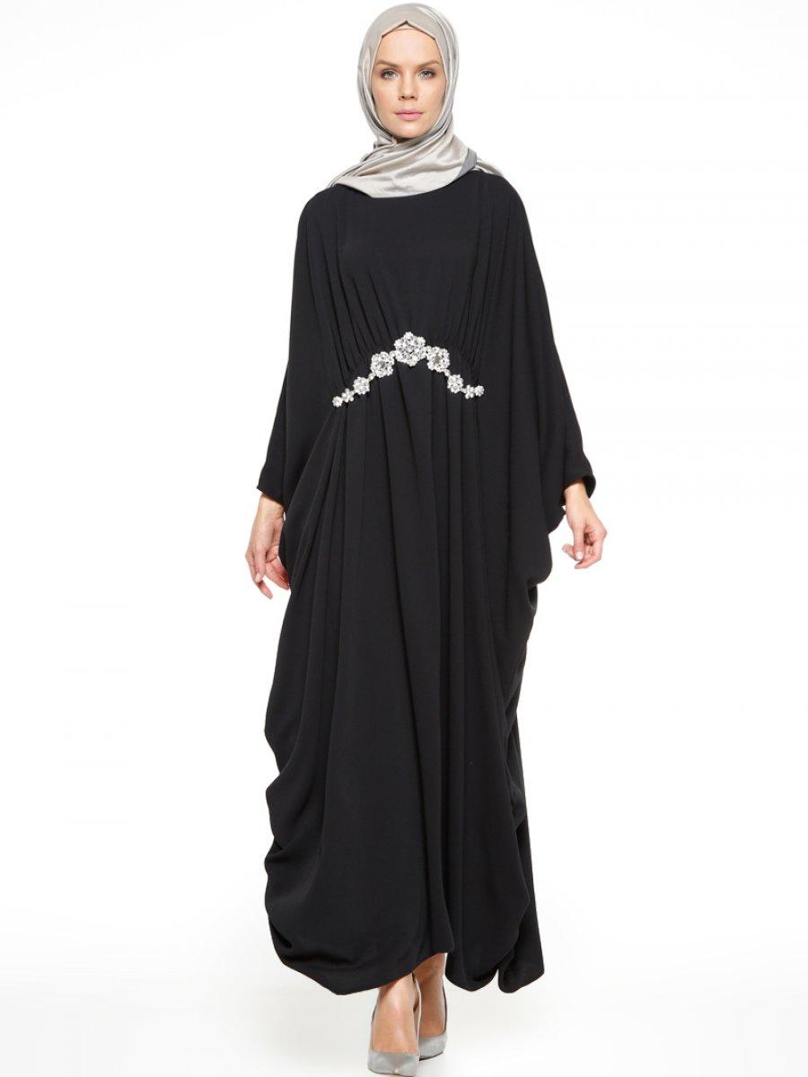 Efkeyem Beli Taşlı Siyah Elbise