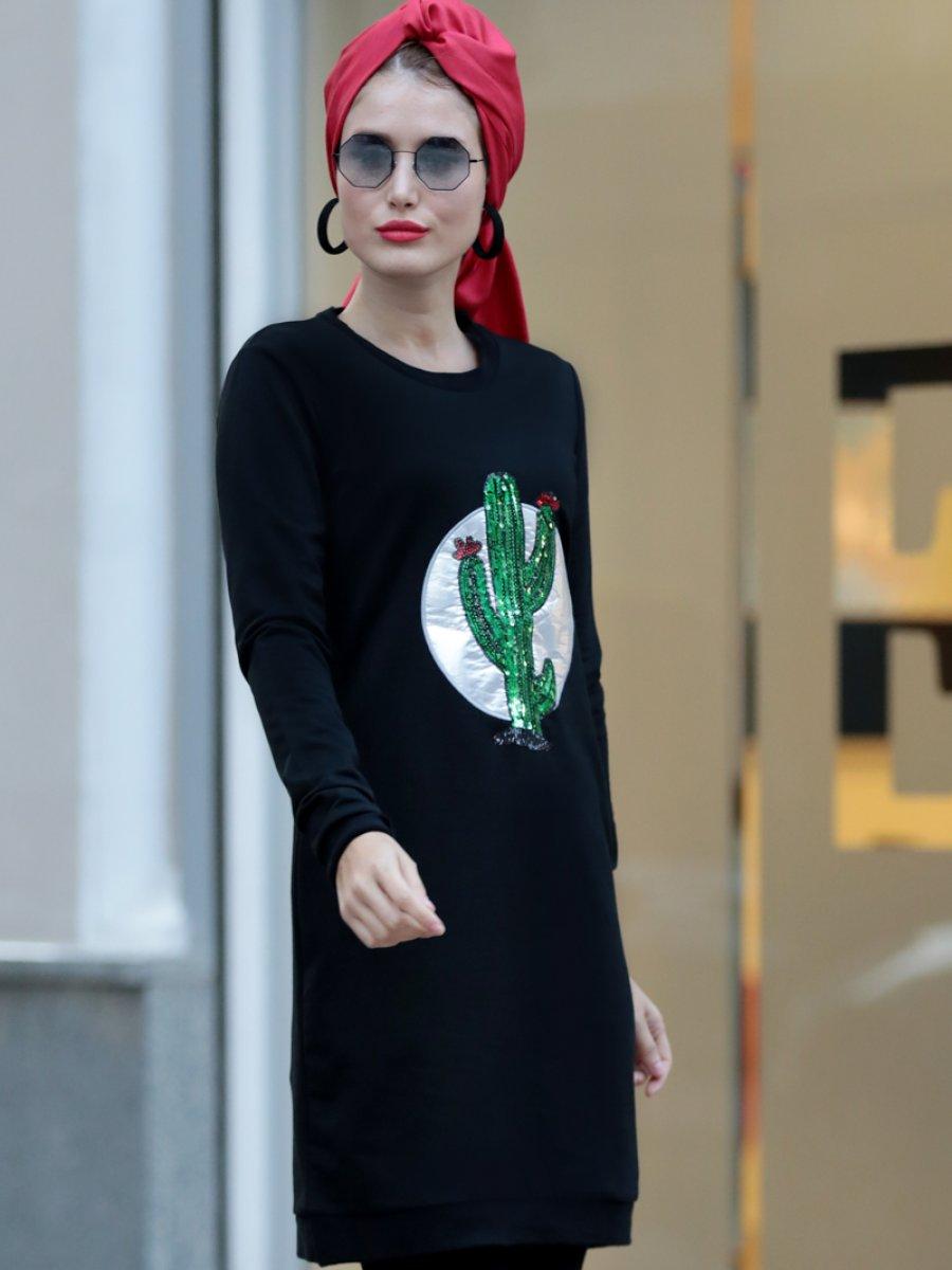 Selma Sarı Design Kaktüs Desenli Siyah Tunik