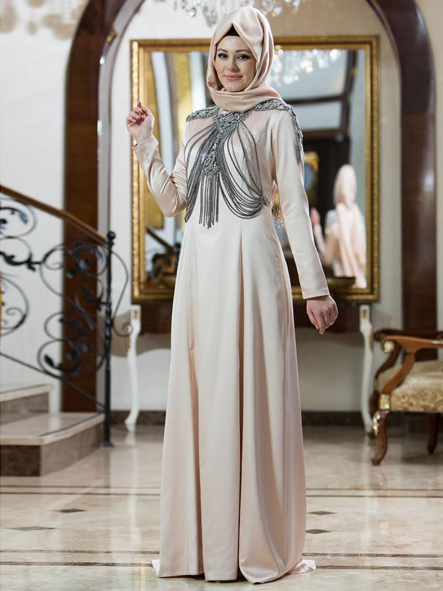 2a5511be5a5c4 Gizem Kış Nisa Pudra Abiye Elbise | Ehl-i Tesettür