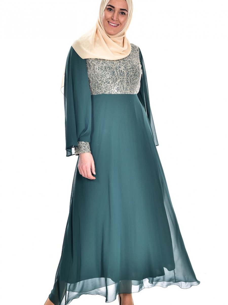 19f7101f511b7 Sefamerve Büyük Beden Dantelli Şifon Yeşil Abiye Elbise | Ehl-i Tesettür