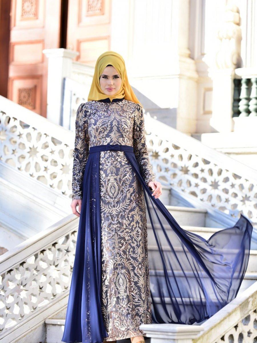 be5aa1cbaa165 Sefamerve Payetli Şifon Lacivert Abiye Elbise | Ehl-i Tesettür