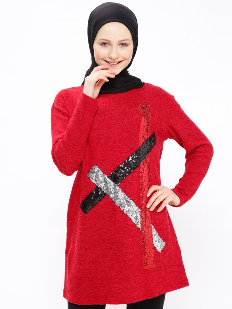 XTREND Payetli Kırmızı Tunik