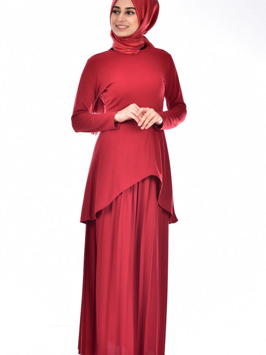 Sefamerve Etek Tunik İkili Kırmızı Takım